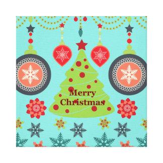 Modern Holiday Merry Christmas Tree Snowflakes Canvas Prints