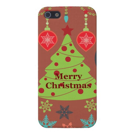 Modern Holiday Merry Christmas Tree Snowflakes Covers For iPhone 5