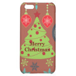 Modern Holiday Merry Christmas Tree Snowflakes iPhone 5C Cover