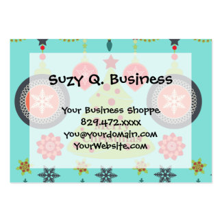 Modern Holiday Merry Christmas Tree Snowflakes Large Business Card