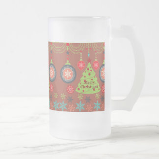 Modern Holiday Merry Christmas Tree Snowflakes Frosted Beer Mugs