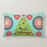 Modern Holiday Merry Christmas Tree Snowflakes Pillow