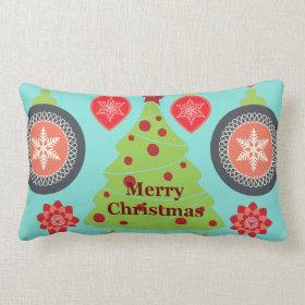 Modern Holiday Merry Christmas Tree Snowflakes Pillow