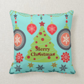 Modern Holiday Merry Christmas Tree Snowflakes Pillows