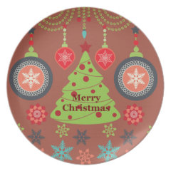 Modern Holiday Merry Christmas Tree Snowflakes Dinner Plate
