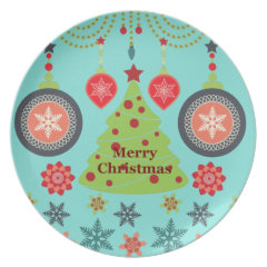 Modern Holiday Merry Christmas Tree Snowflakes Dinner Plates