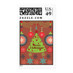 Modern Holiday Merry Christmas Tree Snowflakes Stamp