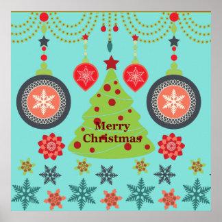 Modern Holiday Merry Christmas Tree Snowflakes Print