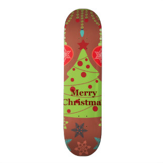Modern Holiday Merry Christmas Tree Snowflakes Skate Boards