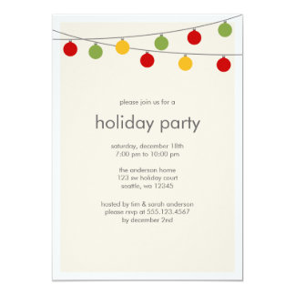 Modern Holiday Ornaments Dinner Party Invitation