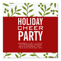 Modern Holiday Party Invitation Green Red Berries