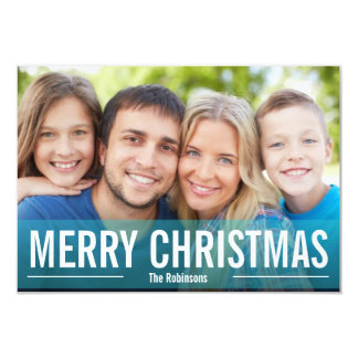 MODERN HOLIDAY PHOTO CARD MERRY CHRISTMAS Blue