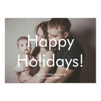 Modern Holiday Photo Card with White Text Overlay