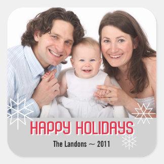 Modern holiday photo red gray snowflake greeting sticker
