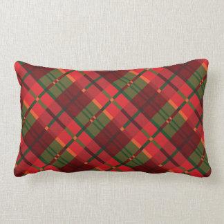 Modern Holiday Plaid Pattern Long Lumbar Pillow
