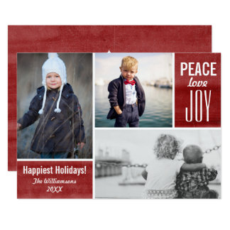 Modern Holiday Red Peace Love Joy Photo Collage Card