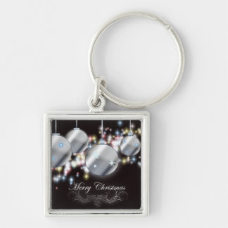 Modern Holiday sparkling ornament Christmas Keychain