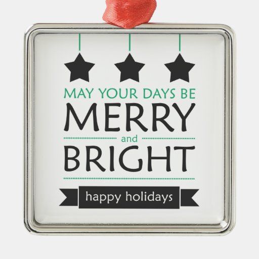 Modern Holiday Square Metal Christmas Ornament