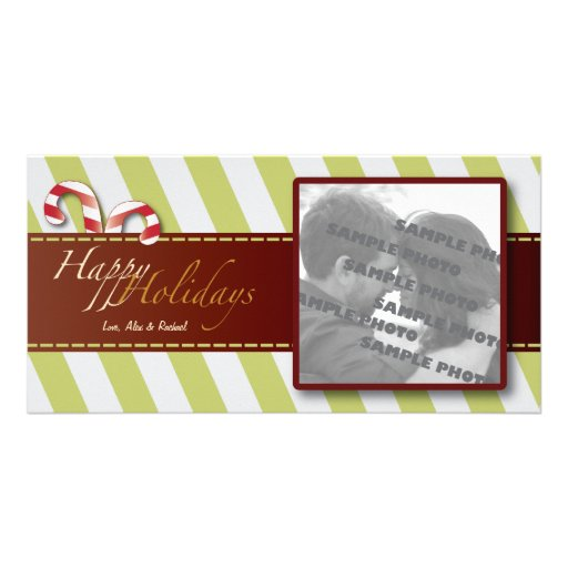 Modern Holiday Stripes Candy Canes Photo Card