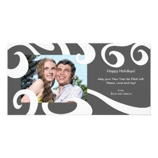 Modern Holiday Swirls Photo Card- Dark Gray
