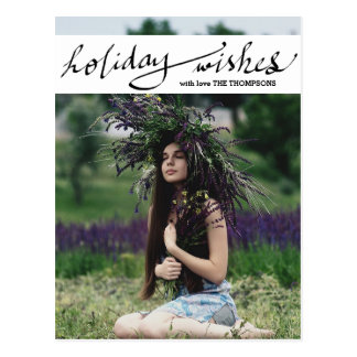 Modern Holiday Wishes Photo Script Postcard