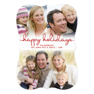 Modern Holidays Hand Lettered Script Flat Photo Card