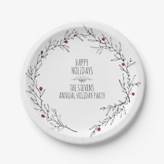 Modern, Holly Berry Holiday Paper Plate