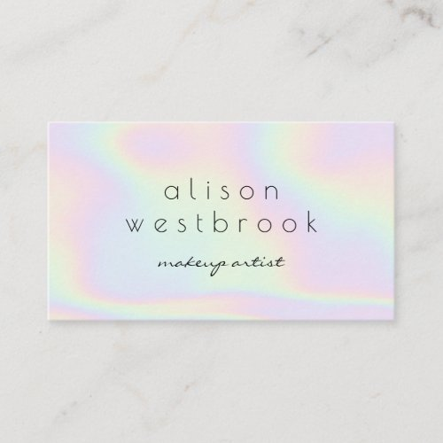 Modern holographic makeup artist pastel rainbow business card