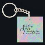 """Modern Holographic Script Rainbow Pastel Keychain<br><div class=""""desc"""">Professional abstract minimalist holographic illustration in rainbow pastel shades; your name and text written with trendy typography calligraphy script.</div>"""