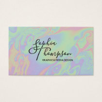 Modern Holographic style Rainbow Pastel - Business Business Card