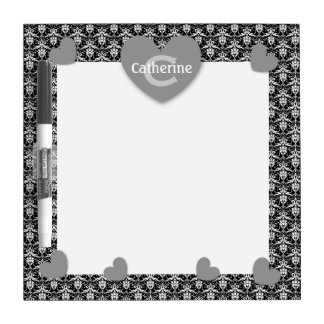 Modern Home Damask with GRAY Hearts C05 Dry-Erase Board