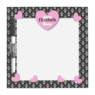 Modern Home Damask with PINK Hearts C02 Dry Erase Board