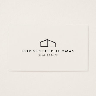 Modern Home Logo Black on Ivory Business Card