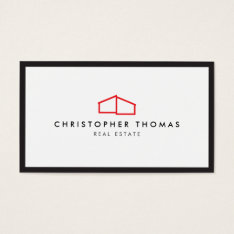 Modern Home Logo In Red For Real Estate, Realtor Business Card at Zazzle