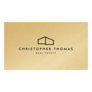 Modern Home Logo on Gold for Real Estate, Realtor Business Card