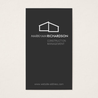 Modern Home Logo on Gray for Construction, Realtor Business Card