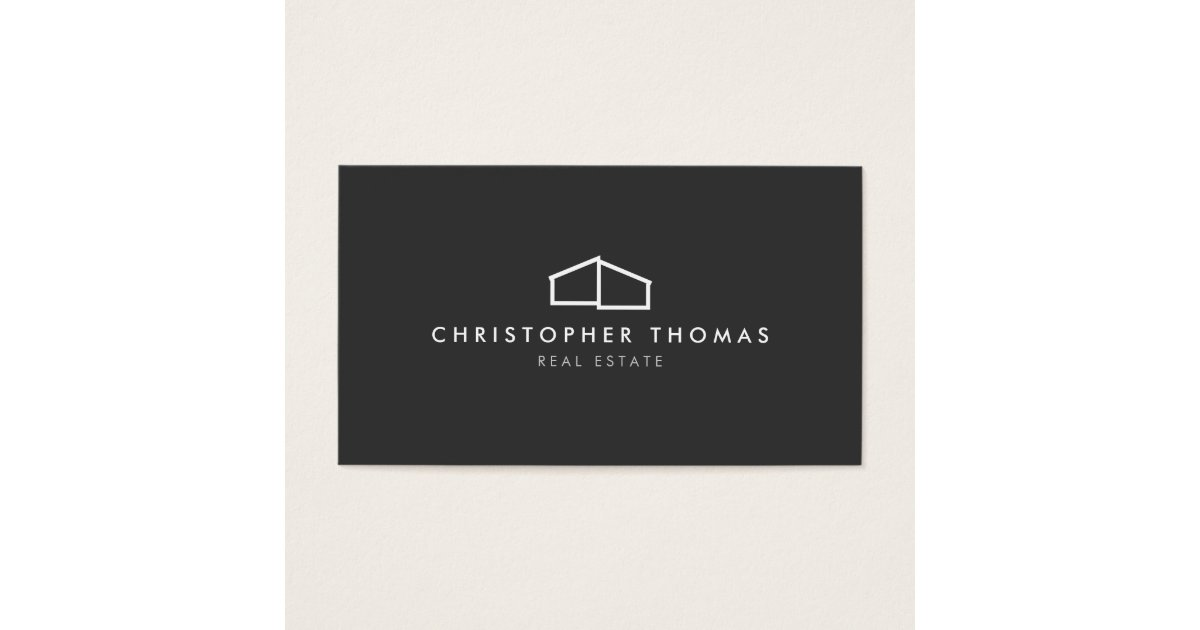 Modern Home Logo on Gray for Real Estate, Realtor Business Card ...