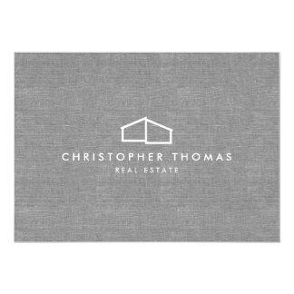 Modern Home Logo on Linen Flat Notecard