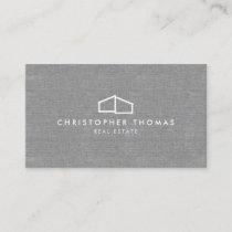 Modern Home Logo on Linen for Real Estate, Realtor Business Card
