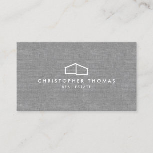 Real estate business cards zazzle modern home logo on linen for real estate realtor business card reheart Gallery