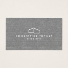 Modern Home Logo On Linen For Real Estate, Realtor Business Card at Zazzle