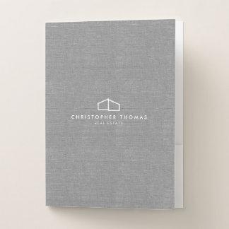 Modern Home Logo on Linen Pocket Folder