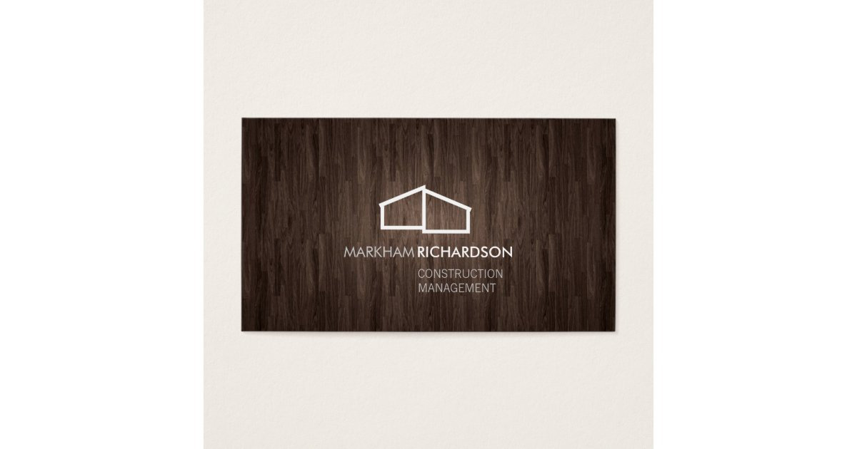 Modern home logo on wood for construction realtor for Modern house logo