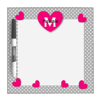Modern Home Polka Dots with Hearts and Name Z50D Dry Erase Board