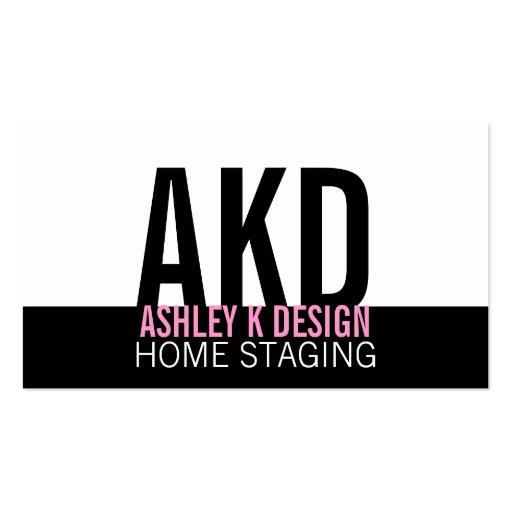 Modern home staging business card pink black zazzle for Home staging business cards