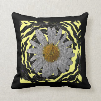 """Modern Homes""floral black/yellow pillow""*"