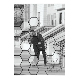 Modern Honeycomb Save The Date | Photo Card