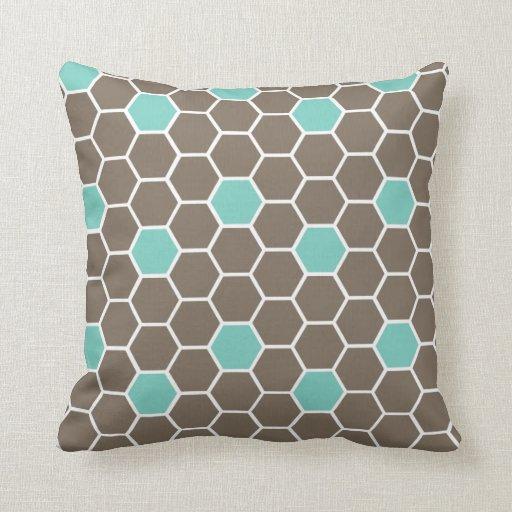 Modern Honeycomb Throw Pillow (brown & blue)