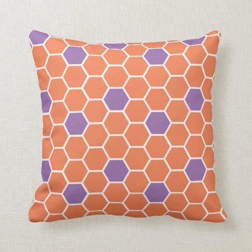Modern Honeycomb Throw Pillow (orange & purple) Zazzle
