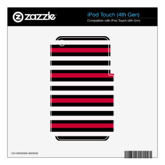 Modern Horizontal BW Red iPod Touch 4G Decals